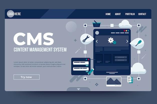 Целевая страница системы управления контентом в плоском дизайне