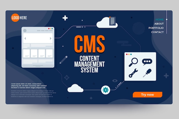 Flat design content management system web template