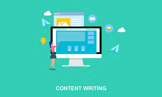 Flat design content writing, blogging illustration