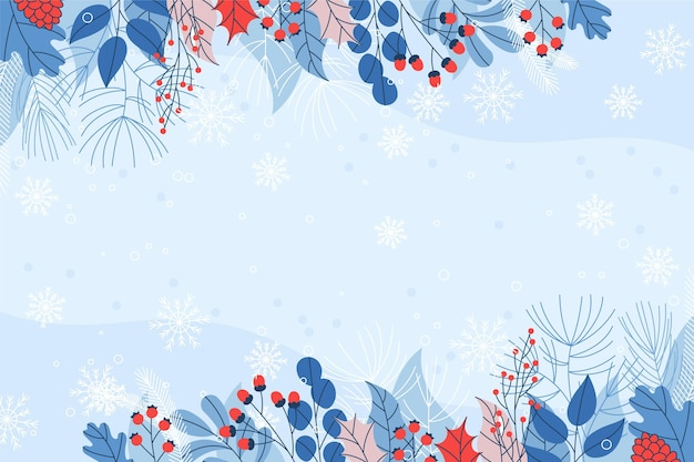 Flat design copy space winter background