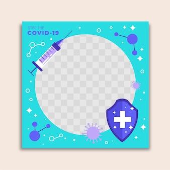 Flat design coronavirus facebook frame