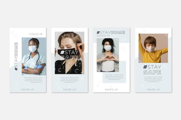 Collezione di storie instagram di coronavirus design piatto