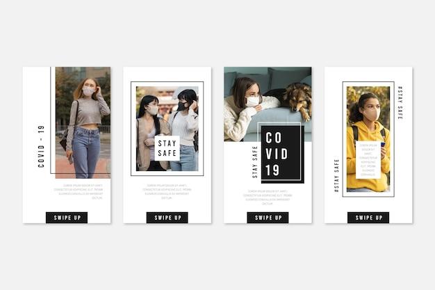 Flat design coronavirus instagram story collection