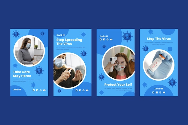 フラットデザインコロナウイルスinstagramストーリーコレクション