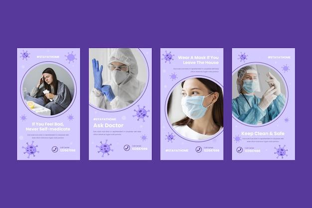 플랫 디자인 코로나 바이러스 인스 타 그램 스토리 컬렉션