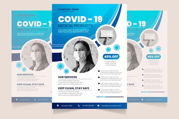 Flat design coronavirus medical products flyer template with photo