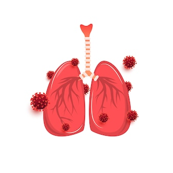 Плоский дизайн коронавирусной пневмонии и инфекции легких вирусом. болезнь, рак и концепция лечения.