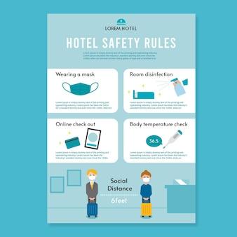 ホテルのフラットデザインコロナウイルス予防ポスター