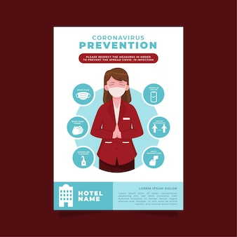 Flat design coronavirus prevention poster for hotels