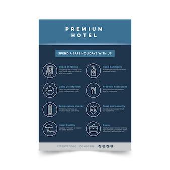 Modello di poster di prevenzione coronavirus design piatto per hotel