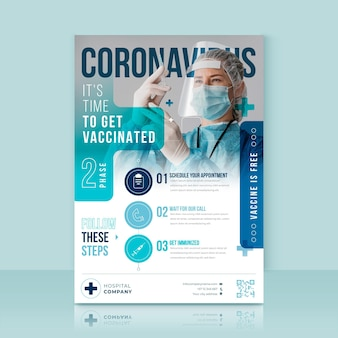 Флаер о вакцинации против коронавируса в плоском дизайне