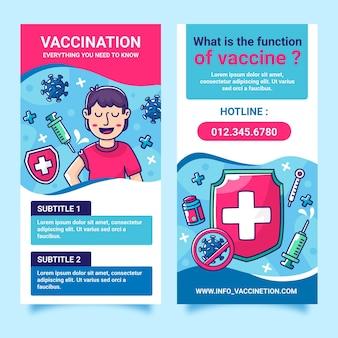 フラットデザインコロナウイルスワクチン接種の有益なパンフレット
