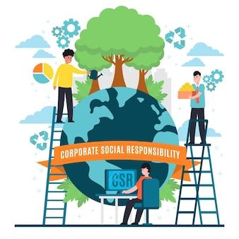 Плоский дизайн иллюстрации концепции корпоративной социальной ответственности