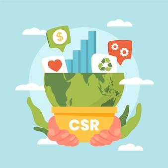 Illustrazione di concetto di responsabilità sociale aziendale design piatto