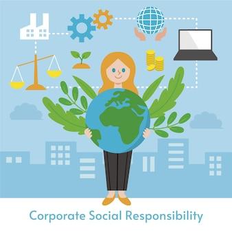 평면 디자인 기업의 사회적 책임 개념 그림