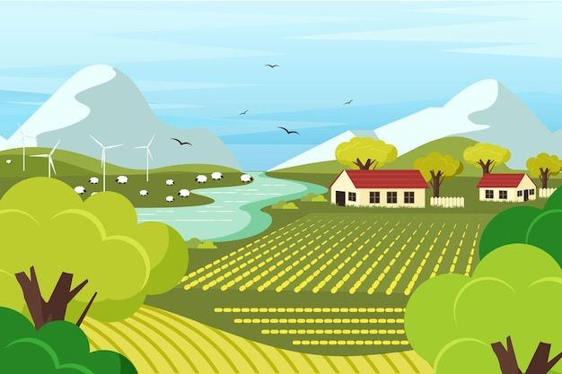 Flat design countryside landscape illustration