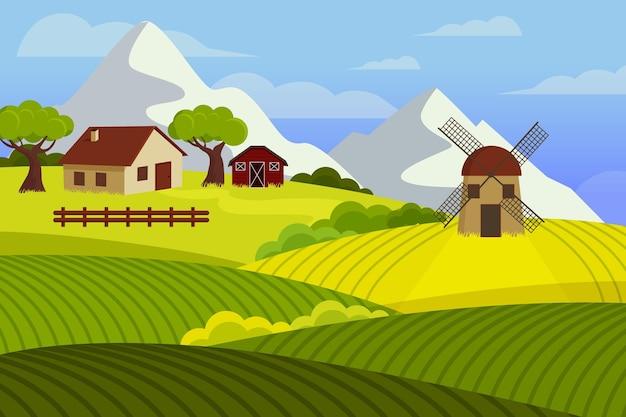フラットなデザインの田園風景