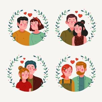 Плоский дизайн пара в коллекции любви