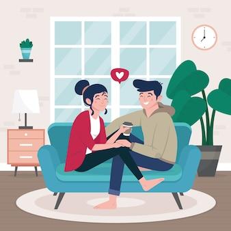 Flat design couple on sofa