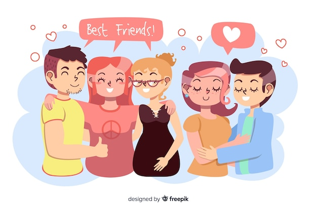 Flat design couple with best friends