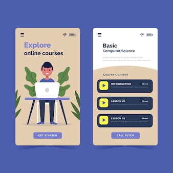 Flat design course app set