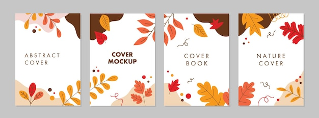 Flat design cover background with autumn or fall season concept