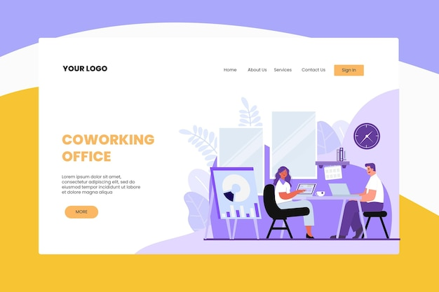 Flat design coworking landing page template