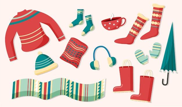 Collezione di abiti invernali accogliente design piatto