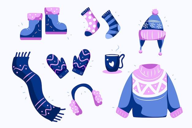 Set di vestiti invernali accogliente design piatto