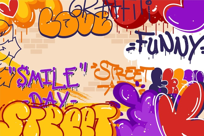 Sfondo di graffiti creativi di design piatto