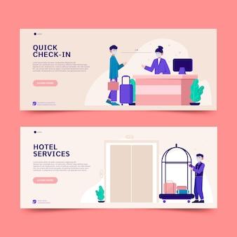 Flat design creative hotel banner