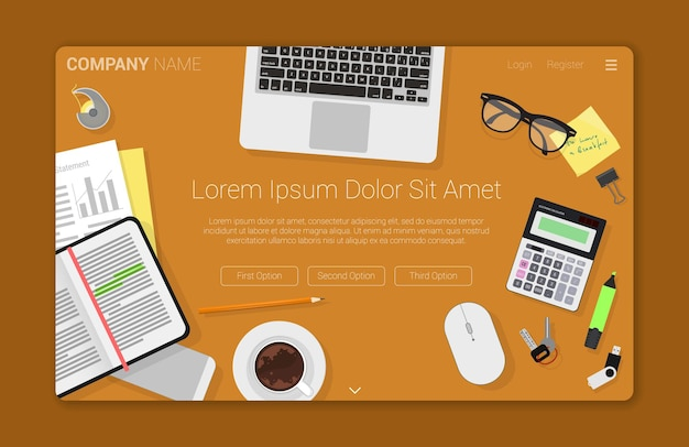Flat design creative  workspace concept for web design landing page