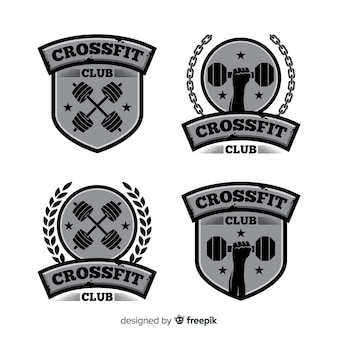 Flat design crossfit logo collection
