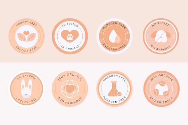 Flat design cruelty free badge collection
