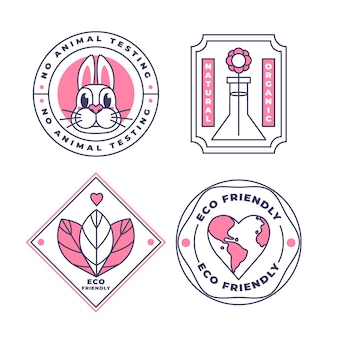 Pacchetto badge cruelty free design piatto