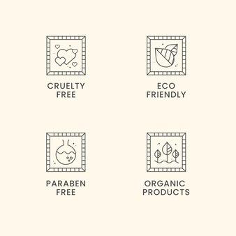Набор значков без жестокости в плоском дизайне