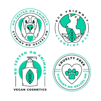 Set di badge cruelty free design piatto