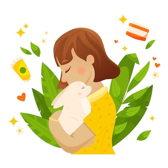 Design piatto cruelty free e illustrazione vegana
