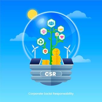 Иллюстрированная концепция csr в плоском дизайне
