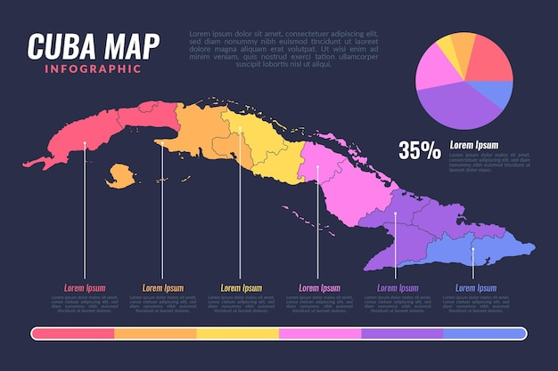 Плоский дизайн куба карта инфографики