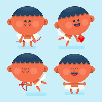 Flat design cupid cartoon collection