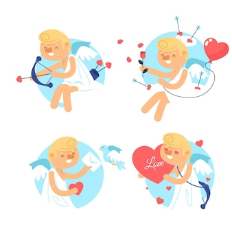 Flat design cupid character collection