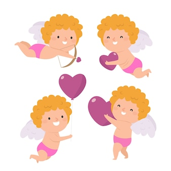 Flat design cupid character set