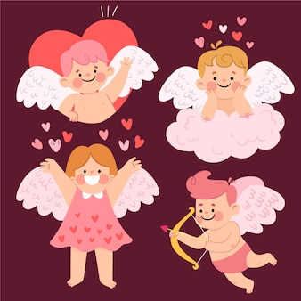 Flat design cupid character theme
