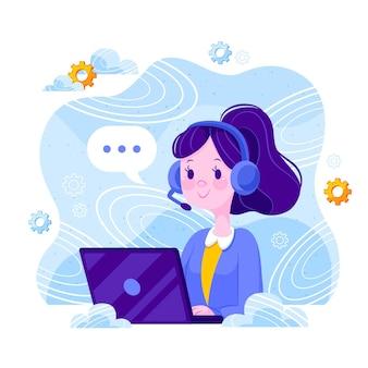 Flat design customer support concept illustrated