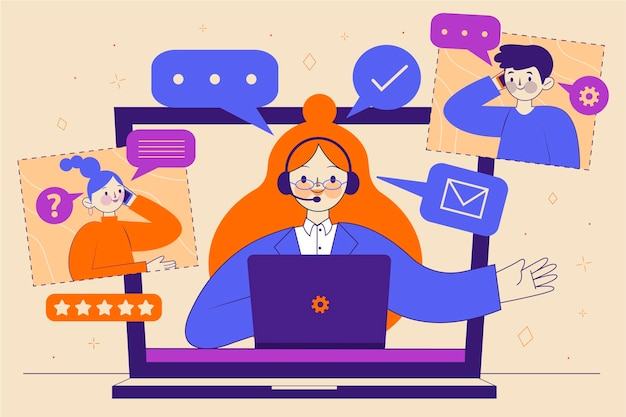 Иллюстрированная концепция поддержки клиентов в плоском дизайне