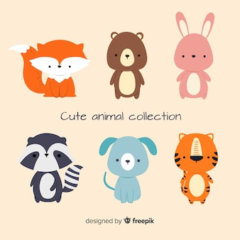 Flat design of cute animal collection