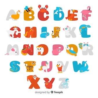 Flat design cute animal letters pack