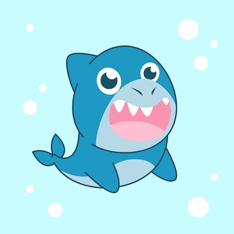 Flat design cute baby shark