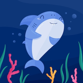 Плоский дизайн милый ребенок акула